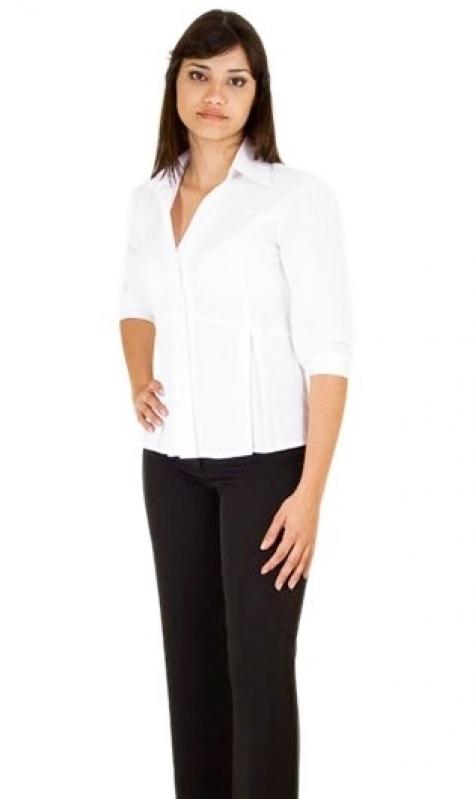 Onde Encontro Camisa Uniforme Branca Jardim Everest - Camisa de Uniforme de Trabalho